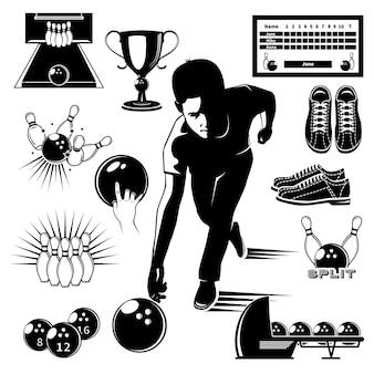 Insieme di stile vintage di elementi di bowling