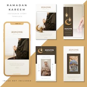 Insieme di storie di instagram ramadan kareem, foto modello instagram