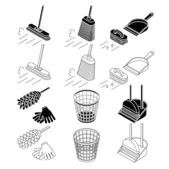 Insieme di strumenti di pulizia, scopa, icona della linea sottile della pattumiera del cestino, isolata su bianco.