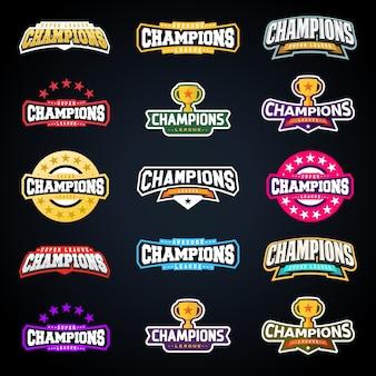 Insieme di tipografia emblema campione di campioni di sport o campioni