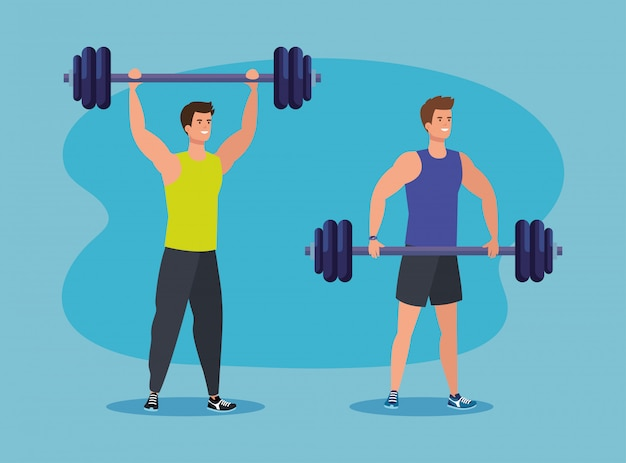 Insieme di uomini con peso per l'attività sana