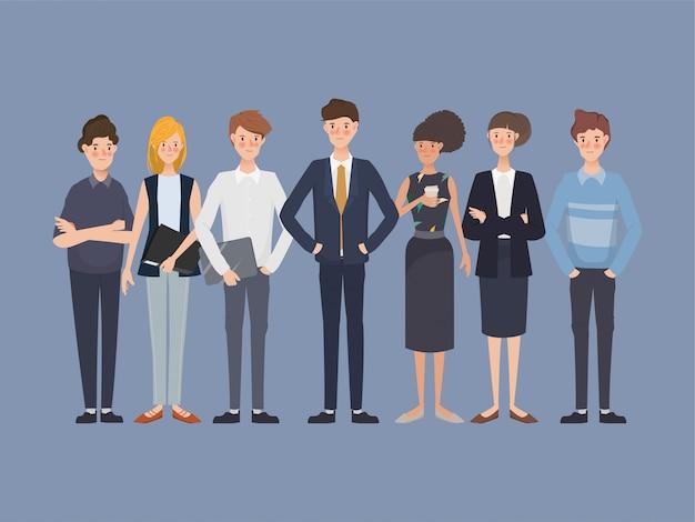 Insieme di uomini d'affari nel gruppo di lavoro di squadra aziendale. festa del lavoro internazionale. disegno di carattere disegnato a mano.