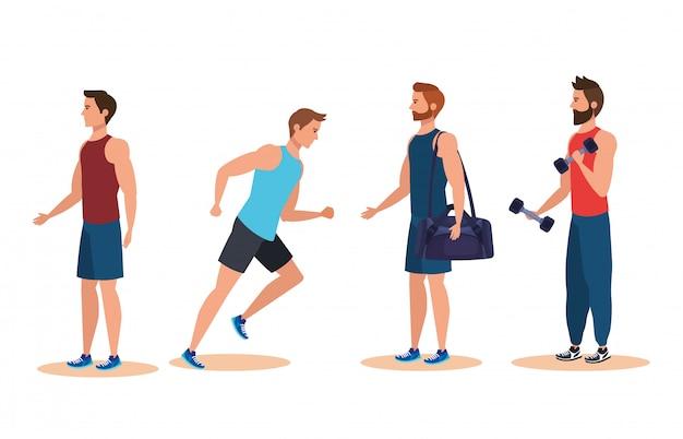 Insieme di uomini di fitness praticare attività sportiva