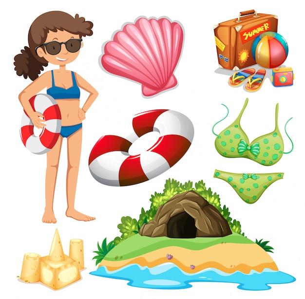 Insieme di vacanze estive a tema oggetti isolati