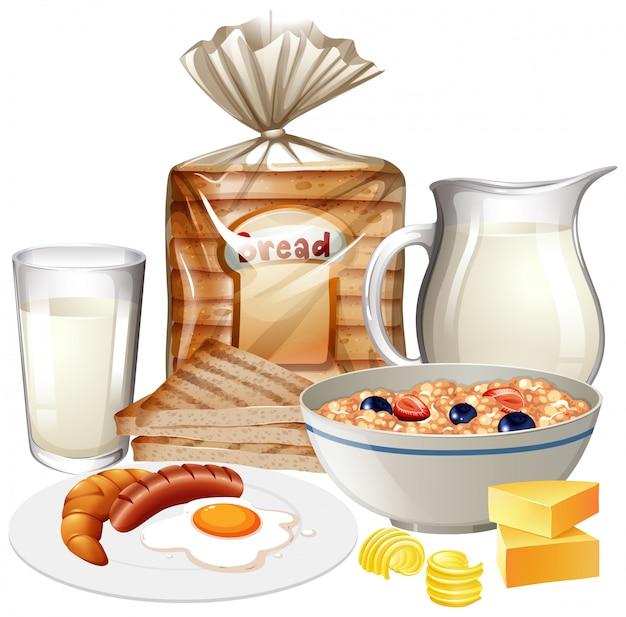 Insieme di vari alimenti per la colazione