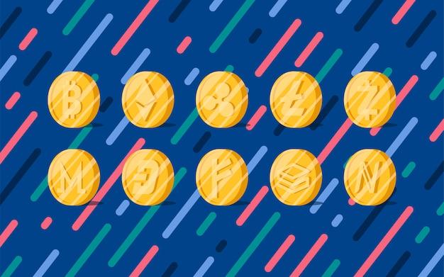 Insieme di vari criptovalute simbolo di denaro elettronico