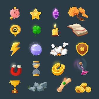Insieme di vari elementi per la progettazione dell'interfaccia utente di gioco. cartoni animati oggetti e risorse magici per un gioco fantasy. monete d'oro, libro, candela, gemma, petto, trifoglio.