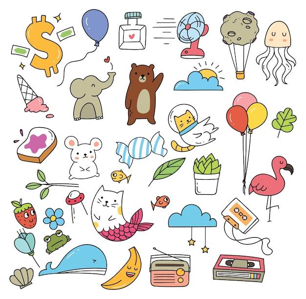 Insieme di vari icona carina in stile doodle isolato su priorità bassa bianca