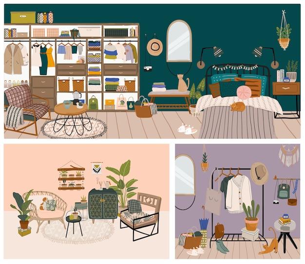 Insieme di vari interni dal design moderno dell'illustrazione grafica del soggiorno. collezione di appartamenti colorati accoglienti arredati con decorazioni eleganti
