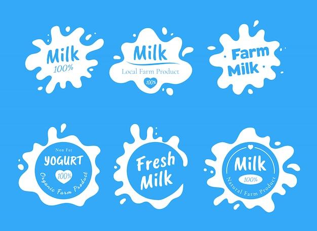 Insieme di vari logo di latte bianco isolato, splash e spot con gocce. macchie fresche di prodotti lattiero-caseari naturali