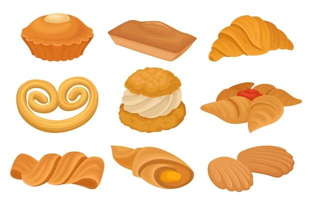 Insieme di vari prodotti da forno. cratere, biscotti, pane.