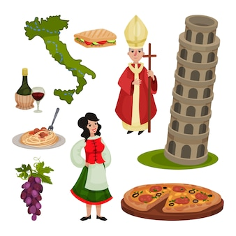 Insieme di vari simboli d'italia. illustrazione.