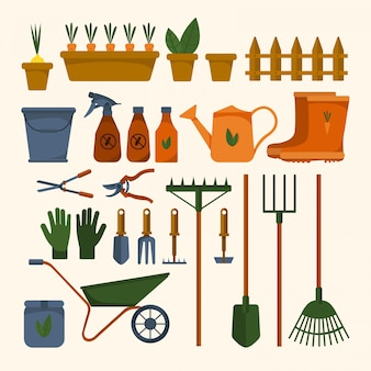 Insieme di vari strumenti di giardino su una priorità bassa bianca isolata. attrezzature per l'agricoltura. illustrazione design piatto di oggetti colorati. annaffiatoio, paletta, secchio. e illustrazione di riserva.
