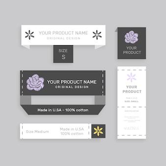 Insieme di vari tag di carta con il nome del prodotto