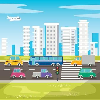 Insieme di vari veicoli cartoon