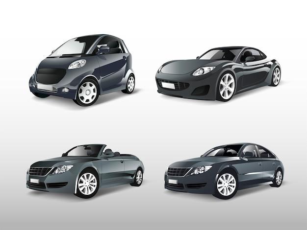 Insieme di vari vettori di auto grigi