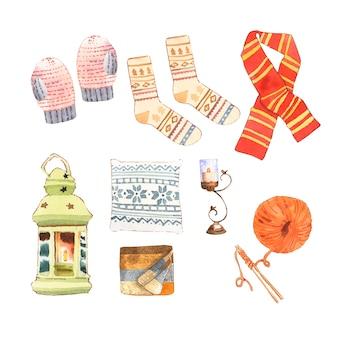 Insieme di varia illustrazione isolata della raccolta della casa di inverno dell'acquerello.