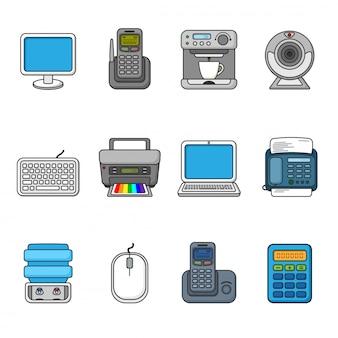 Insieme di varie apparecchiature per ufficio, simboli e oggetti.