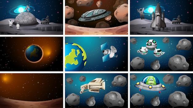 Insieme di varie scene spaziali