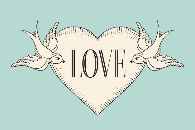 Insieme di vecchia bandiera del nastro dell'annata con la parola amore, cuore e tatuaggio uccello in stile incisione su uno sfondo turchese.