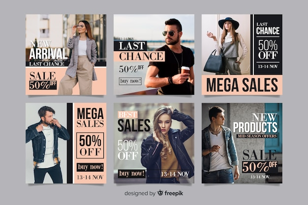Insieme di vendita di moda astratto post di instagram