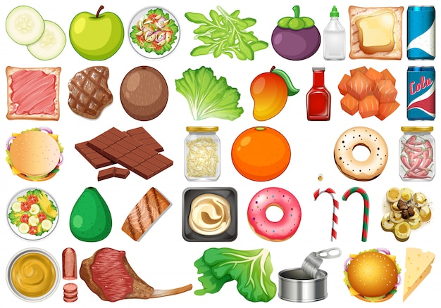 Insieme di verdure fresche e dessert isolati