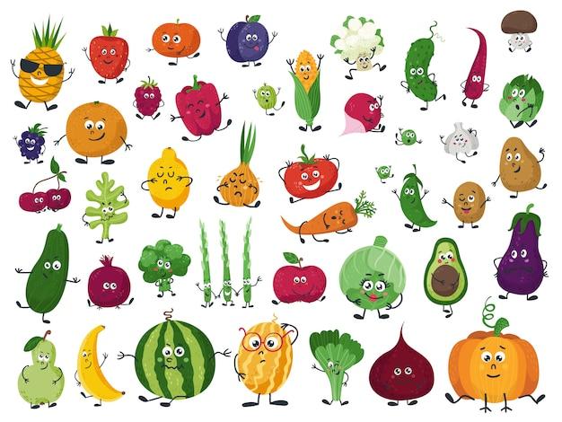 Insieme di verdure, frutta e bacche in stile cartone animato