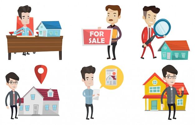 Insieme di vettore degli agenti immobiliari e dei proprietari di casa.