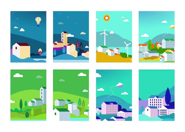 Insieme di vettore degli ambiti di provenienza di paesaggi urbani con edifici e alberi
