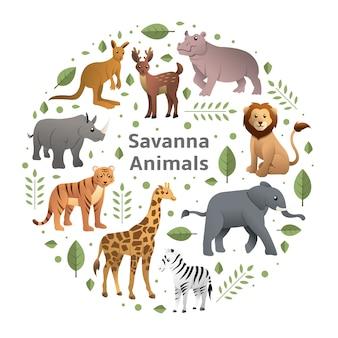 Insieme di vettore degli animali della savana