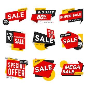 Insieme di vettore degli annunci di promozione di vendita del negozio