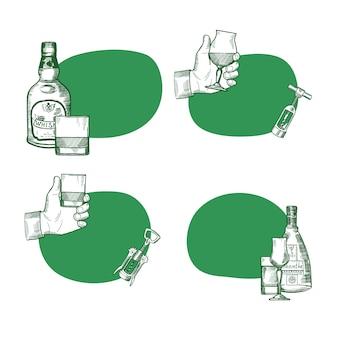 Insieme di vettore degli autoadesivi con il posto per testo con l'illustrazione disegnata a mano delle bottiglie e di vetro della bevanda dell'alcool