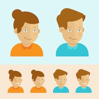 Insieme di vettore degli avatar di cartone animato piatto