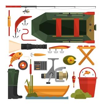 Insieme di vettore degli elementi dell'attrezzatura di pesca isolati. elementi di design piatto.