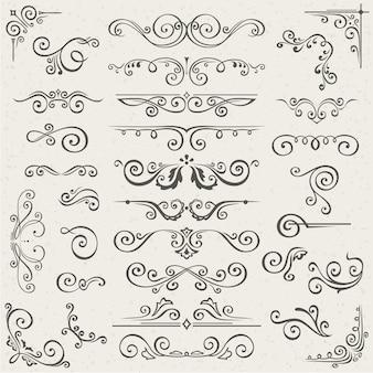Insieme di vettore degli elementi della decorazione della pagina calligrafica di turbinio