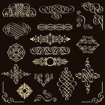 Insieme di vettore degli elementi di design vintage dorato