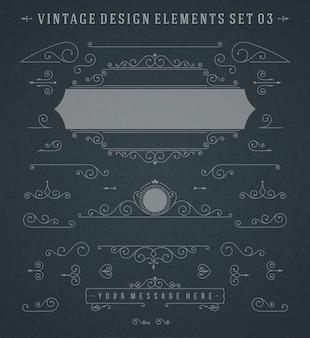 Insieme di vettore degli elementi di progettazione delle decorazioni degli ornamenti di turbinii delle scenette d'annata