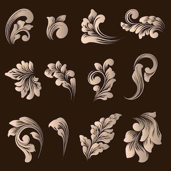 Insieme di vettore degli elementi ornamentali damascati.