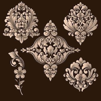 Insieme di vettore degli elementi ornamentali damascati