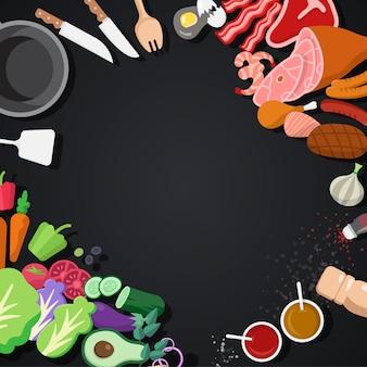 Insieme di vettore degli ingredienti e degli strumenti di cottura