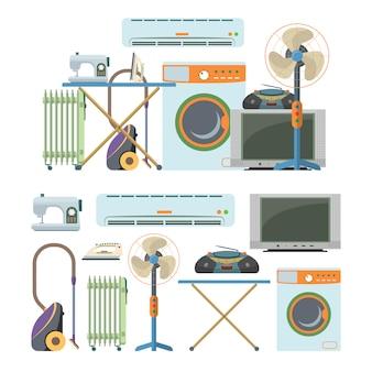 Insieme di vettore degli oggetti di elettronica domestica isolati. elettrodomestici. lavatrice, aspirapolvere, aria condizionata, tv, radiatore, riscaldamento