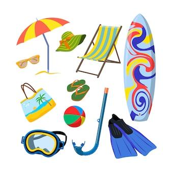 Insieme di vettore degli oggetti di estate isolati