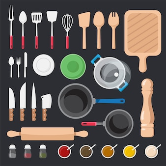Insieme di vettore degli utensili e degli ingredienti della cucina