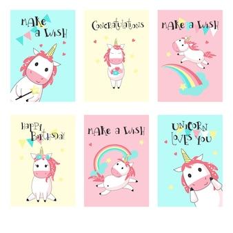 Insieme di vettore dei biglietti di auguri di compleanno di unicorno