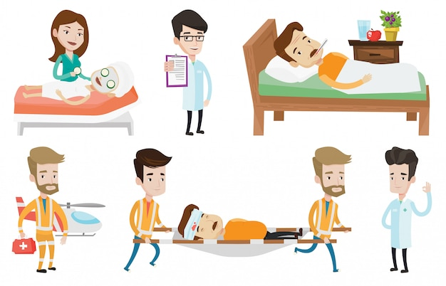 Insieme di vettore dei caratteri e dei pazienti di medico.