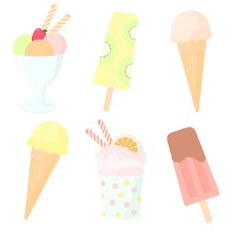 Insieme di vettore dei dolci disegnati a mano di colore