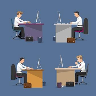 Insieme di vettore dei gestori in ufficio in stile piano