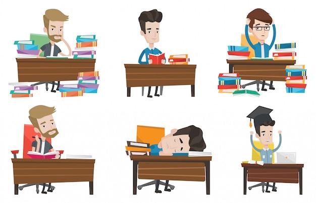 Insieme di vettore dei personaggi degli studenti.