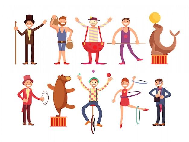 Insieme di vettore dei personaggi dei cartoni animati degli artisti del circo. acrobata e uomo forte, mago, pagliaccio, animale addestrato