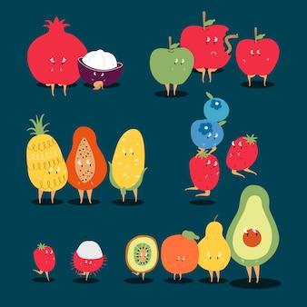 Insieme di vettore dei personaggi dei cartoni animati della frutta tropicale